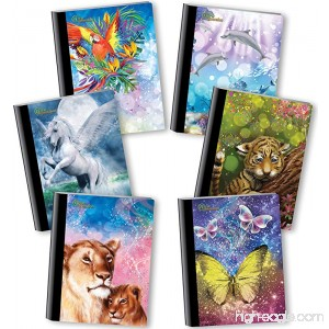New Generation - Fantasy - Composition Book 6 PACK WIDE Ruled 80 Sheets / 160 Pages 7.5 x 9.75 Inches Interactive Notebooks 3D animation Technology . (6 PACK COMPOSITION NOTEBOOK WIDE RULED) - B06XH2LBDK