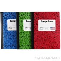 Norcom Wide Ruled 100 Sheet Composition Notebooks ~ Pack of 3 (Red ~ Blue ~ Green) - B0131H0S0A