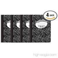 Composition Book Notebook - Hardcover Wide Ruled (11/32-inch) 100 Sheet One Subject 9.75 x 7.5 Black Cover-4 Pack - B07F236K1J