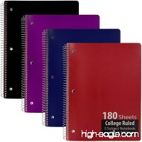 Emraw 5 Subject Notebook Spiral with 180 Sheets of College Ruled White Paper - Set Includes: Red  Black  Purple  & Blue Covers (Random 3 Pack) - B079Y7LQ9G