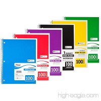 "Mead Spiral Notebook  1 Subject  Wide Ruled  100 Sheets  8"" x 10 1/2""  Assorted Colors  Pack Of 6 - B01E0APXMK"