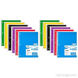Mead Spiral Notebook 1 Subject Wide Ruled 100 Sheets 8 x 10 1/2 Assorted Colors Pack Of 12 - B01IIIK4TC