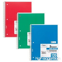 Mead Spiral Notebooks 3 Subject 120-Count Wide Ruled Sheets 10-1/2 x 7-1/2 Red Green Blue 3 Pack (73179) - B00X7NQE5C