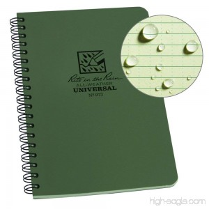 Rite in the Rain All-Weather Side-Spiral Notebook 4 5/8 x 7 Green Cover Universal Pattern (No. 973) - B00W2E2RT4