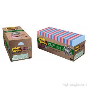 Post-it Recycled Super Sticky Notes 3 in x 3 in Bali Collection 24 Pads/Pack (654-24NH-CP) - B004D7RMHK