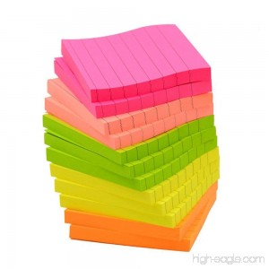 Sticky Notes Memo Self-Stick Notes Lined 3X3 Inches 80 Sheets/Pad 12 Pad/Pack 5 Colors - B072HHDS16