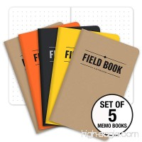 "Field Notebook - 3.5""x5.5"" - Combination of Kraft  Black  Orange  Yellow - Dot Graph Memo Book - Pack of 5 - B07488QRMQ"