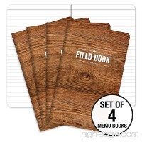 "Field Notebook - 5""x8"" - Wood Pattern - Lined Memo Book - Pack of 4 - B078HR8QJV"