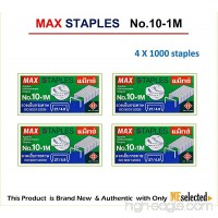 MAX No.10-1M Flat Clinch Staples (27/4.8) for Office Stapler - 4 Boxes (4 000-Staples) - B01KDYN4DW