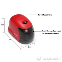 Electric Pencil Sharpener - Battery Operated - For Office  Classroom  Home Use - Heavy Duty - Red Color. By Mega Stationers - B0777281MY