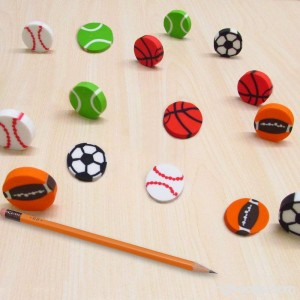 Erasers 60 Pcs Assorted Sports Ball Pencil Erasers For Kids - Holiday Gift Children's Gift Party Favor Great Fun!! By Mega Stationers - B01N8ZSOX0