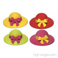 Lucore Hat and Bow Rubber Erasers - 12 pcs Colorful Women & Girls Sun Hat Shaped Miniature Puzzle Charms - B07DQTSHR1