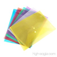Envelope Folders with Snap Button A4 Size Waterproof Transparent 6 Assorted Colors Premium Quality (24 Pack) - B07D5363GQ