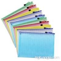 File Bags A4 Plastic Zip File Paper Document Folder Bags Storage Pouch Document Storage Bag Pouch Zip File Folder Holder for Office School Family Supplies Business Travel 10pcs 5 Colors - B07F25H879