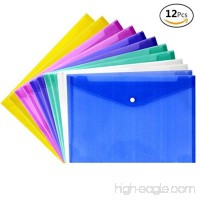 file folders-ranslucent Premium Poly Envelope with Button Closure Premium Quality Poly Envelope  US LETTER/A4 size  Set of 12 in 6 assorted Colors  Purple  Green Pink  White  Blue  Orange - B0761S81LR