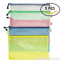 File Folders With Zipper A4 Paper B4 Paper 5Pcs Mesh Document Bag Business Receipt Organizer (B4(14.9x11)) - B077LNNCY7