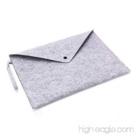 GerTong Wool Felt File Bag Folder Portable Felt Holder Documents Envelope Bag Luxury Office Profile Letter Folder with Hanging Bag Buckle Larger Than A4 Size (Light Grey) - B07F39ZF2V