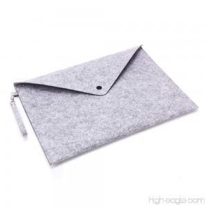 GerTong Wool Felt File Bag Folder Portable Felt Holder Documents Envelope Bag Luxury Office Profile Letter Folder with Hanging Bag Buckle Larger Than A4 Size (Light Grey) - B07F39ZF2V
