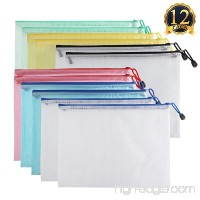 SUBANG 12 Packs New Design Zipper File Bags In A4 Sizes  File Holders With Grid Travel Pouch 6 Assorted Colors - B075ZQ4NYK