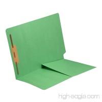 14 pt Green Folders Full Cut End Tab Letter Size 1/2 Pocket Inside Front Fastener Pos #1 (Box of 50) - B00VMLUO0W