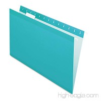 Pendaflex Reinforced Hanging Folders  1/5 Tab  Legal  Aqua  25/Box - B00INXQ3I4