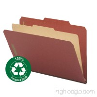 "Smead 100% Recycled Pressboard Classification File Folder  1 Divider  2"" Expansion  Legal Size  Red  10 per Box (18723) - B002MPPBIM"