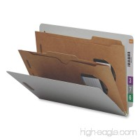 Smead End Tab Classification File Folder with SafeSHIELD Fasteners 2 Pocket-Style Dividers 2 Expansion Legal Size Gray/Green 10 per Box (29710) - B002S0O7OA