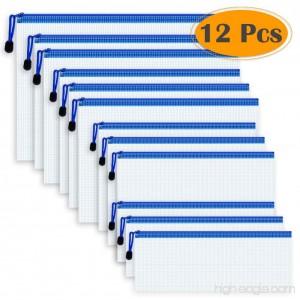 Selizo 12 Pcs Plastic Zip File Paper Document Folder Bags Storage Pouch with Assorted Sizes - B07717QNZH