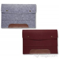 Wool Felt File Folder - 2 Pack of 13 Inch Laptop Briefcase Portable Holder or A4 Document Paper Organizer Portfolio Bag with Snap Buttons and Brown Faux Leather Accent in Gray and Burgundy - B07838DFTP