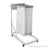 "Adir Corp. Vertical File Rolling Stand for Blueprints- Plans  Sand Beige with 12 36"" File Hanging Clamps - B012UBSIMI"