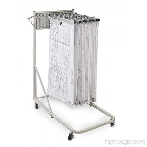 Adir Corp. Vertical File Rolling Stand for Blueprints- Plans Sand Beige with 12 36 File Hanging Clamps - B012UBSIMI