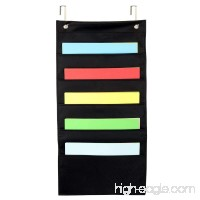 Eamay Hanging File Wall Organizer Cascading Wall File Organizer 5 Pockets Letter Size Black for Classroom Office Home File Organizer (Black -5 Pockets) - B0776NWZ99