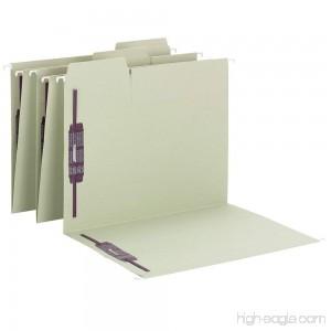 Smead FasTab Hanging Fastener File Folder with SafeSHIELD Fasteners 2 Fasteners 1/3-Cut Tab Letter Size Moss 18 per Box (65120) - B01879FC26