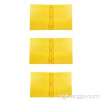 3 PACK PLASTIC YELLOW FOLDERS WITH FASTENER AND 2 POCKETS - B01N3LGZ4U