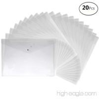 A4 Size Premium Translucent Document Folders 20pcs PVC Envelope with Snap Button Closure - Water & Tear Resistant  White - B074C74SY2