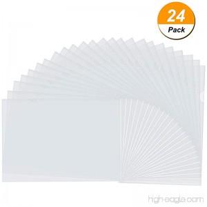 Bememo 24 Pack Clear Transparent Document Folder Copy Safe Project Pockets A4 Size - B077GSXG33