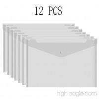 Bird Fiy 12PCS Clear Folder PVC Envelope with Snap Button Translucent Letter/A4 Size - 13''x9.4'' - B01GU14HTW