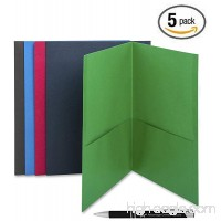 Business Source Two Pocket Folders 5-Pack Assorted Colors Made of Sturdy Paper Stock 35% Recycled Content Made in USA Includes Bonus AdvantageOP Custom Retractable Pen - B07BR2PCZ8