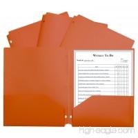 C-Line Two-Pocket Heavyweight 3-Hole Punch Poly Folder  Orange - B079SRF3ML