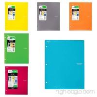 "Five Star Binder Pocket Folder  Stay-Put 2-Pocket Folder  9-1/2""x 11-3/4""  Teal  red Hot Pink;Yellow;Grey Orange /6 Pack - B074S33F2H"