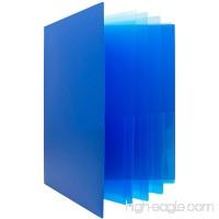 JAM PAPER Heavy Duty Plastic Multi Pocket Folders - 10 Pocket - Blue - Sold Individually - B06XYR4Y15