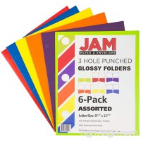 JAM Paper Laminated Two Pocket Glossy 3 Hole Punch Folders - Assorted Primary Colors - 6/pack - B00W2HXTD4