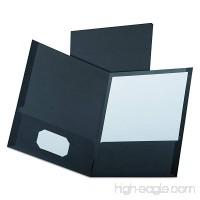 Oxford Linen Twin Pocket Portfolios  Black  25 per Box (53406EE) - B0006HXAN6