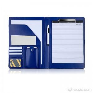 PREMIUMAX Leather Business Padfolio Portfolio Presentation Folder Interview Resume Document Organizer with Bonus Memo Magnetic Closure (Blue) - B07CHQB8KV