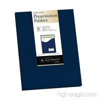 "Southworth Resume Presentation Folders  9"" x 12""  105 lb  Single-Pocket  Felt Finish  Navy  Cardstock  8 Folders (98874) - B00UPE057O"