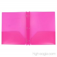 Two Pocket Poly File Folder with 3 Prongs Fastners  SET of 3 Hot Pink - B0749HZQK2
