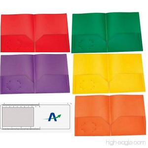 Two Pocket Poly Portfolios Tear and Moisture Resistant Pack of 5 1 of Each Color Shown with Bonus Bookmark/Magnifier/Ruler (No Prong Fasteners) - B07F8D55H2