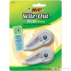 BIC Wite-Out Brand ECOlutions Mini Correction Tape White 2-Count - B004QDGF5G