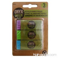 Onyx and Green 3-Pack Erasers with Sleeve Recycled Rubber (2202) - B00OKR6SLO