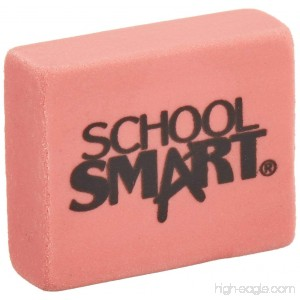 School Smart Latex Free Block Eraser 1 1/8 x 15/16 x 3/8- Inch Pink Box of 80 (000786) - B003U6MT8W